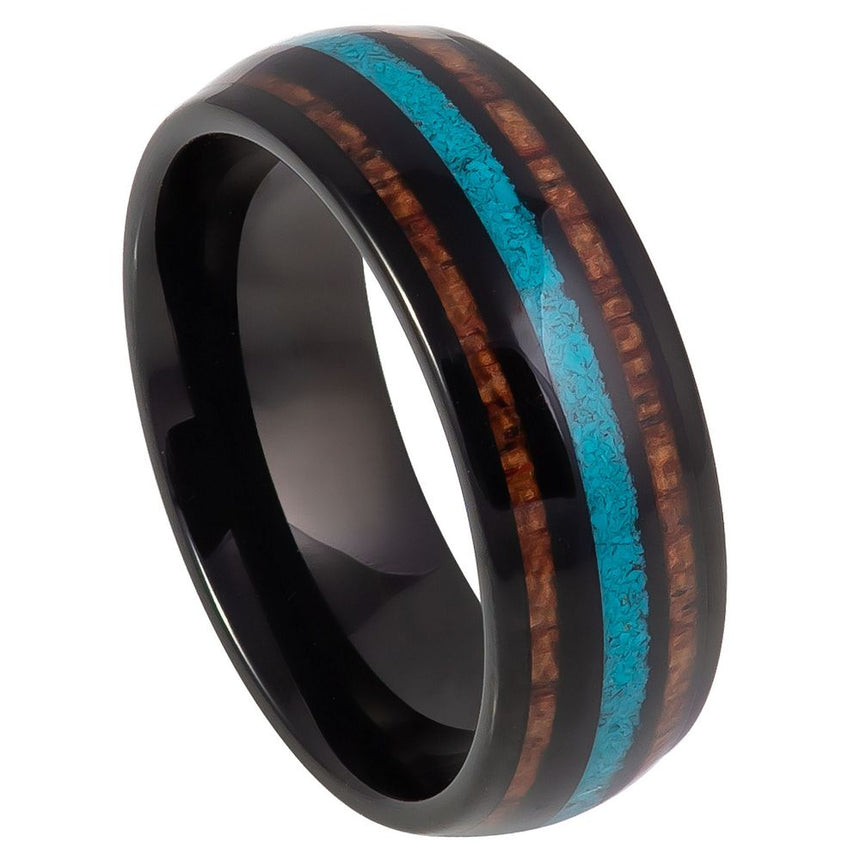 Tungsten Carbide Turquoise Wood Inlay Black Ring 8mm
