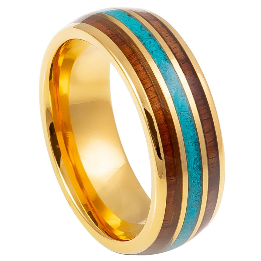 Tungsten Carbide Wood Turquoise Center Gold Ring 8mm