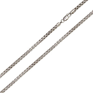 2.4mm Sterling Silver Diamond Cut Slash Round Box Chain