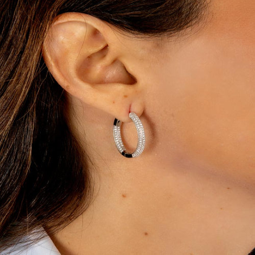 Iced Out Hinged Hoop Earrings
