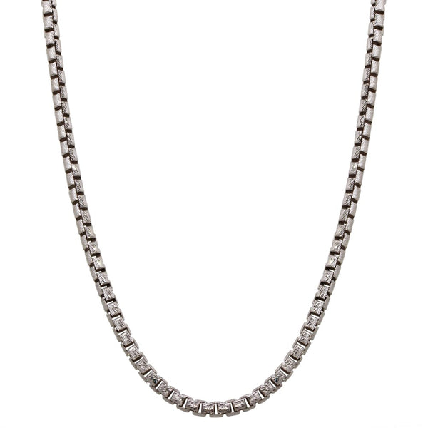 3.9mm Sterling Silver Diamond Cut Round Box Chain