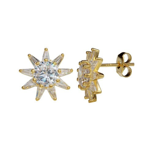 Diamond Sun Stud Earrings Yellow Gold