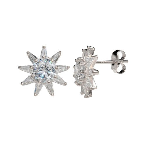 Diamond Sun Stud Earrings Silver