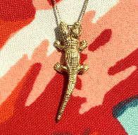 Two-Headed Alligator Necklace - 14K Yellow Gold
