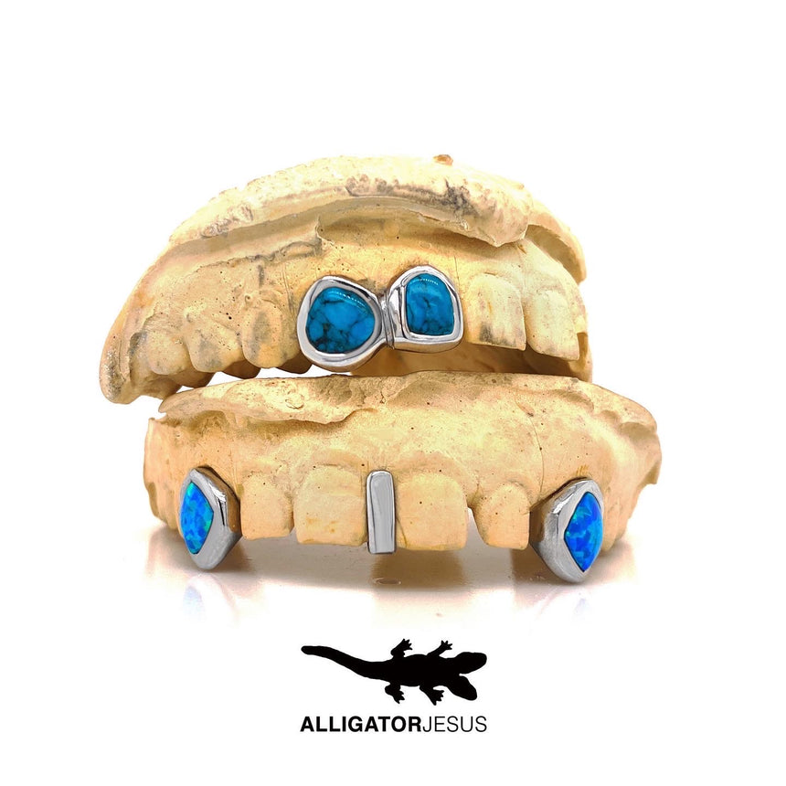 Turquoise White Gold Grillz Custom