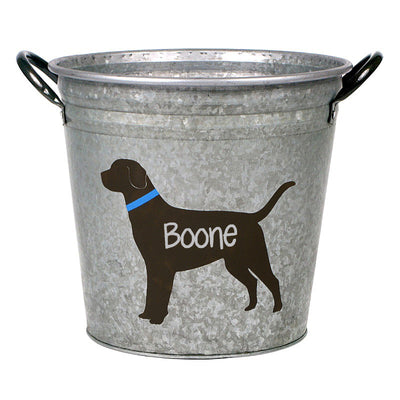 Personalized Labrador Dog Decorative Metal Storage Bucket - A Southern Bucket