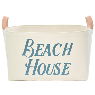 Beach House Canvas Storage Basket with Veg Leather Handles - A Southern Bucket