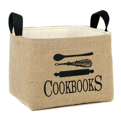 Cookbooks Burlap Storage Bins