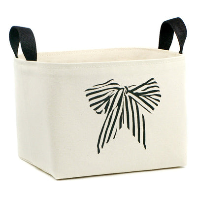 Striped Bow Canvas Storage Basket - A Southern Bucket