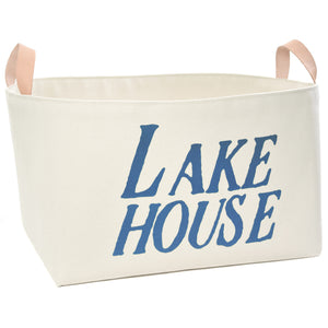 Lake House Canvas Storage Bin with Veg Leather Handles