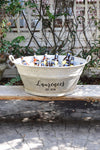 French Vintage Zinc Tub Personalized with Family Name and with Est. Year