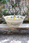 French Vintage Zinc Tub Personalized
