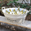 French Vintage Zinc Tub Personalized with Family Name and Est.