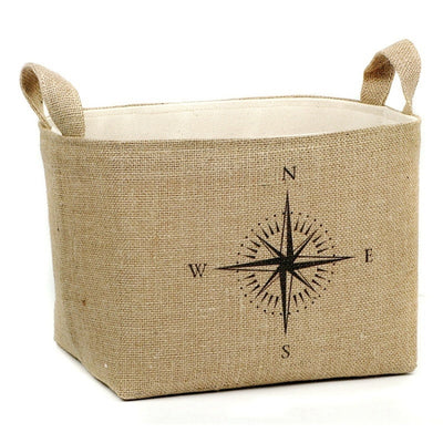 Nautical Compass Burlap Storage Basket - A Southern Bucket