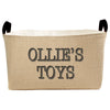 Personalized Burlap Toy Basket, Hand Printed in Charcoal Gray and Black - A Southern Bucket