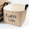 Personalized Toys Burlap Storage Bin, Black - A Southern Bucket - 1