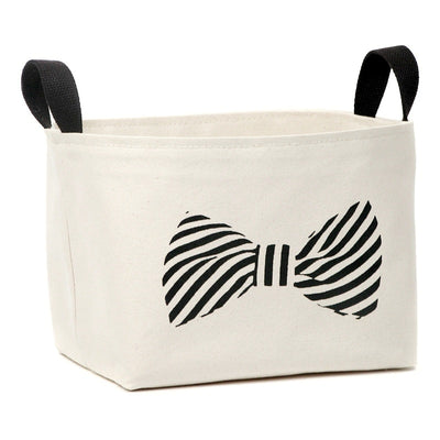 Striped Bowtie Canvas Storage Basket - A Southern Bucket