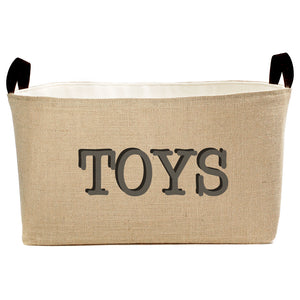 Burlap Jute Toy Basket with Charcoal Gray and Black Hand Printed Design - A Southern Bucket