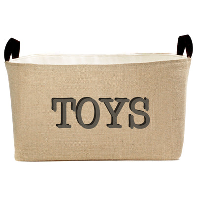 Rectangle Burlap Toy Basket - A Southern Bucket