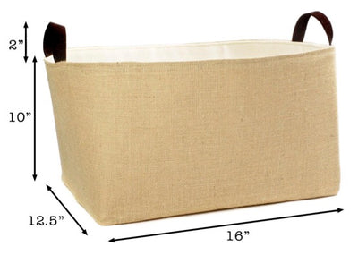 XL Jute Canvas Basket Personalized