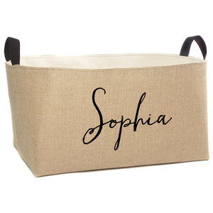 Sophia Personalized X-Large Burlap Storage Bin - A Southern Bucket - 1