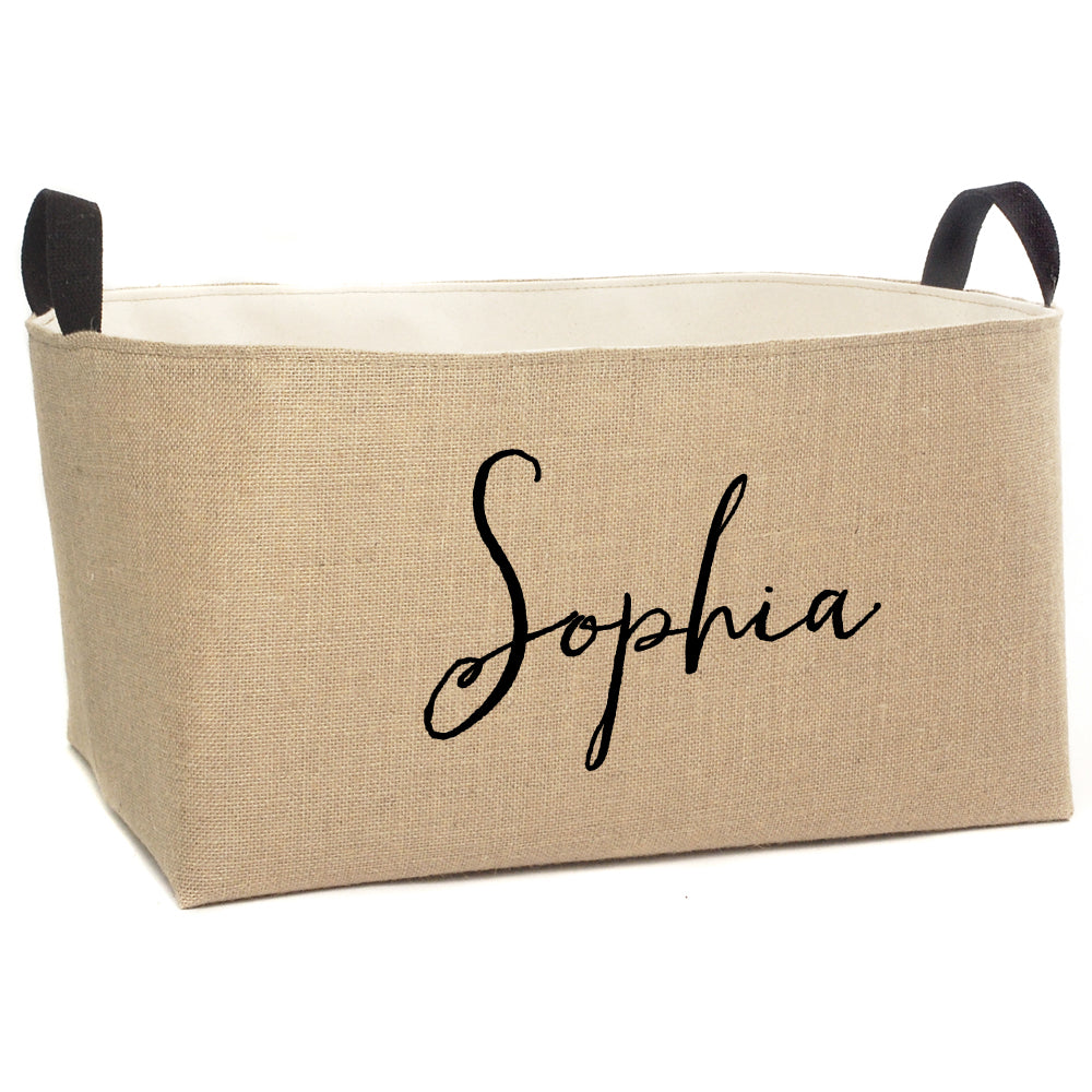 Sophia Personalized X-Large Burlap Storage Bin - A Southern Bucket - 4