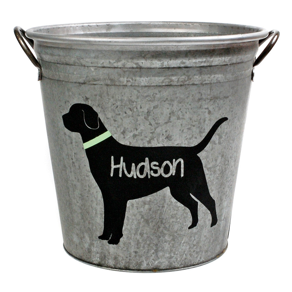 Personalized Black Lab Galvanized Storage Bucket - A Southern Bucket - 1