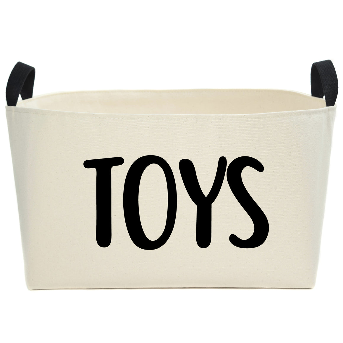Natural Canvas Toy Basket with Hand Printed Design