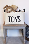 Natural Canvas Toy Basket with Hand Printed Design - A Southern Bucket