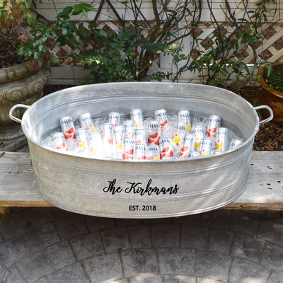 French Vintage Galvanized Zinc Beverage Tub with Custom Personalization - A Southern Bucket