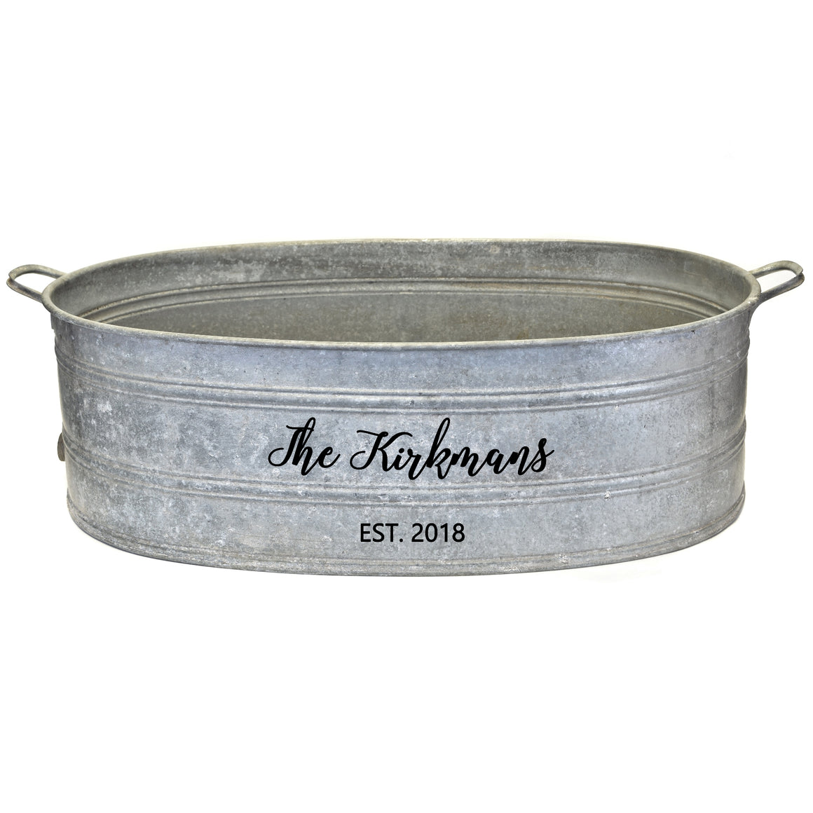 French Vintage Zinc Tub with Custom Personalization - A Southern Bucket