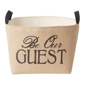 Be Our Guest Burlap Storage Bin - A Southern Bucket - 1