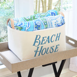 Beach House Canvas Storage Bin with Veg Leather Handles
