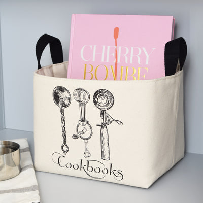 Cookbooks Canvas Storage Bin