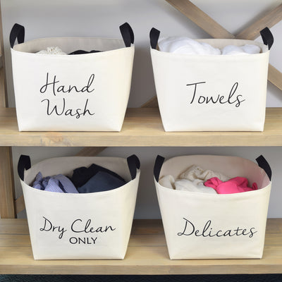 Dry Clean Only Canvas Laundry Basket bin