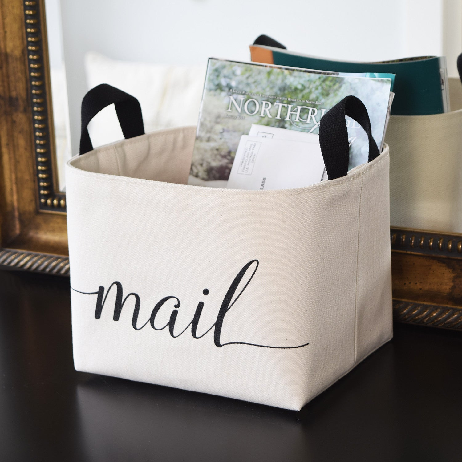 A Southern Bucket Mail Entryway Storage Basket, Natural