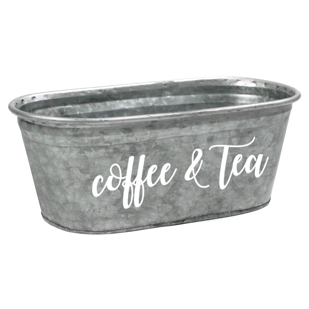 Coffee & Tea Galvanized Storage Container