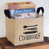 Cookbooks Burlap Storage Basket - A Southern Bucket