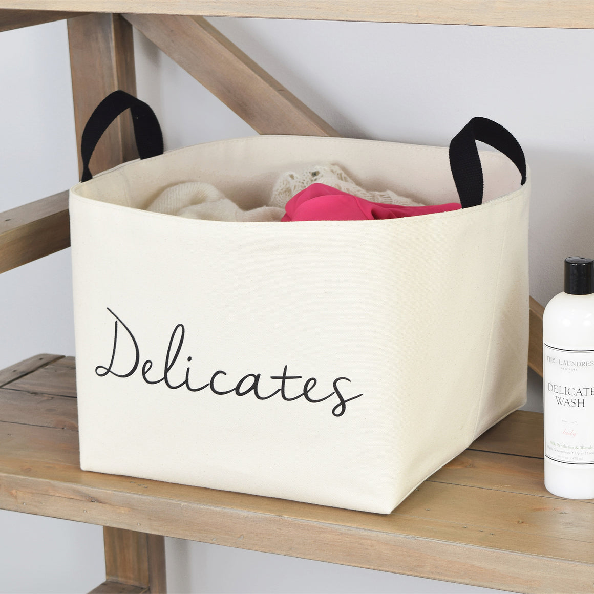 Delicates Laundry Canvas Storage Basket - A Southern Bucket - 1