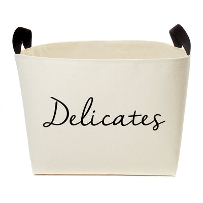 Delicates Laundry Canvas Storage Basket