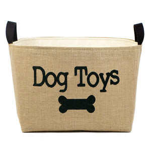Dog Toys Burlap Storage Basket - A Southern Bucket