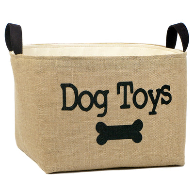 Dog Toys Burlap Storage Bucket