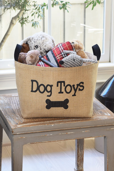 Dog Toys Burlap Storage bin Basket