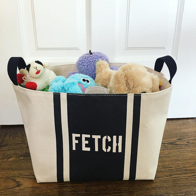 Fetch Striped Dog Toys Canvas Storage Basket