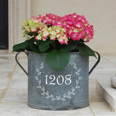 French Vintage Zinc Bucket with Laurel Wreath