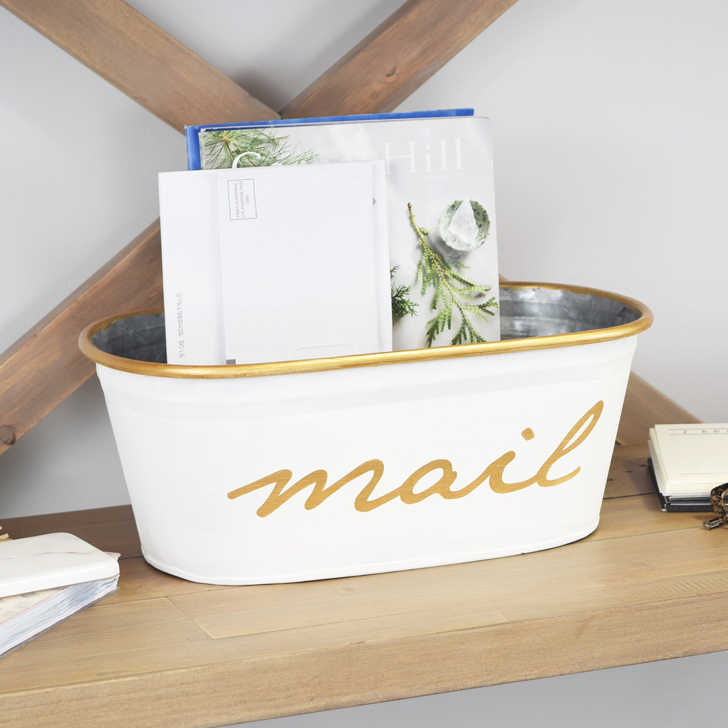 A Southern Bucket Mail Storage Bin White And Gold A