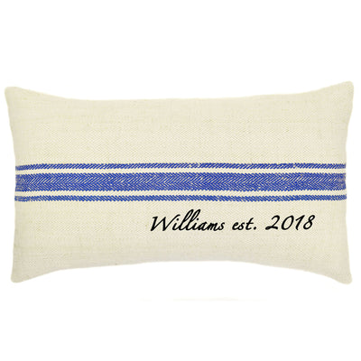Personalized Vintage Grain Sack Pillow - A Southern Bucket