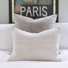 Vintage Wool Kilim Pillow, Neutral Grey with paris