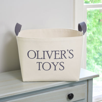 Personalized Canvas Toy Basket, Hand Printed in Gray - A Southern Bucket