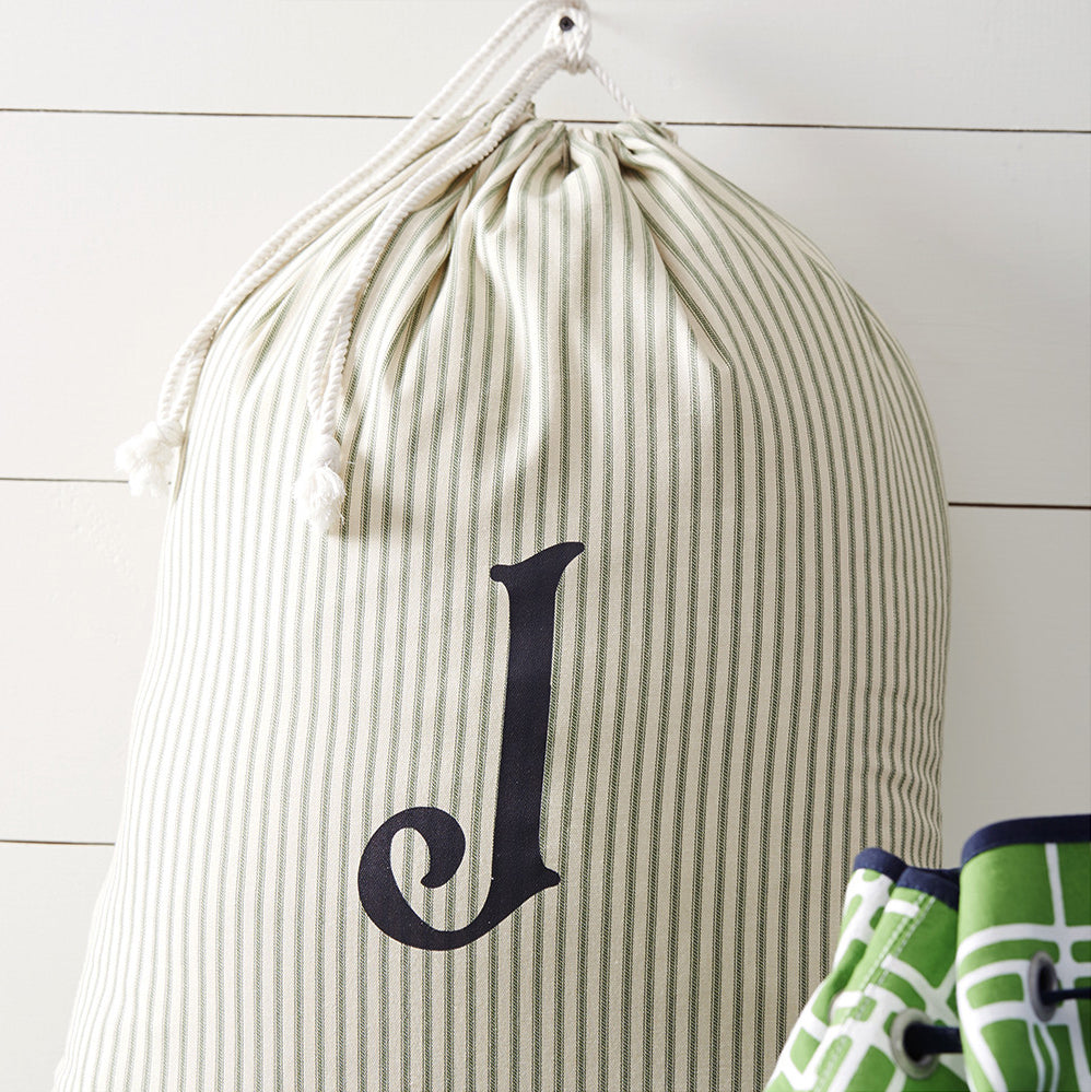 Monogrammed Laundry Bag, Green Striped - A Southern Bucket - 1